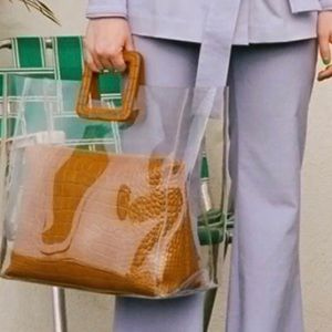 New STAUD Large Shirley Clear Bag with Tan Croc!